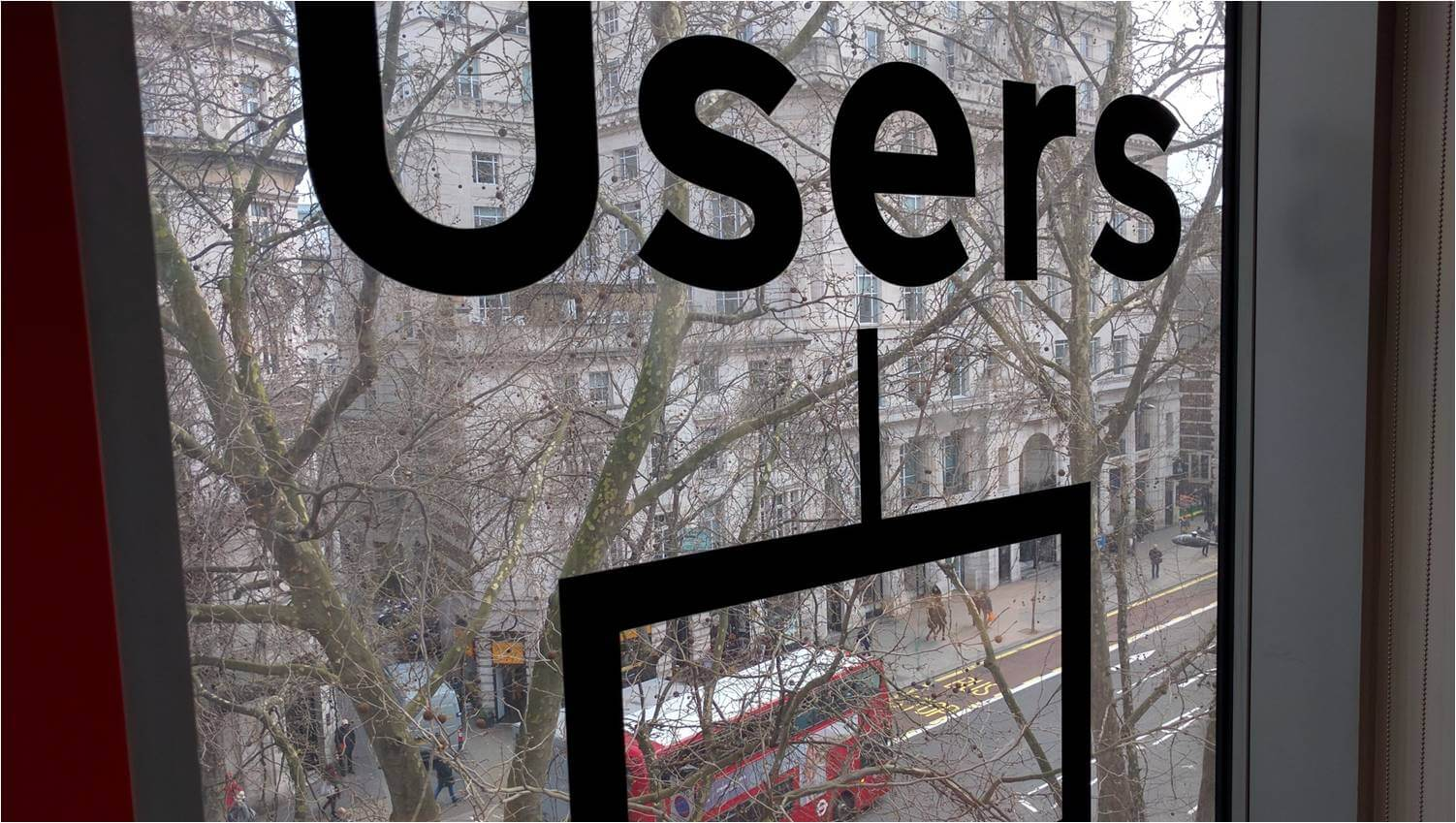 "A window showing the street view outside has a box and the word ""users"" printed on it. (Photo by Jock Busuttil / Product People Limited)"