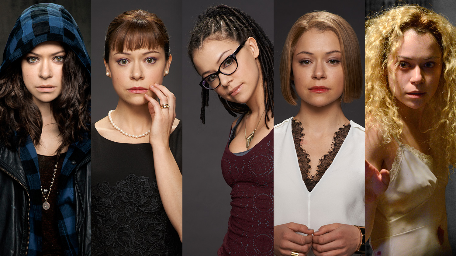 "Five clone characters from TV show ""Orphan Black"", all played by Tatiana Maslany (Credit: BBC / Netflix)"