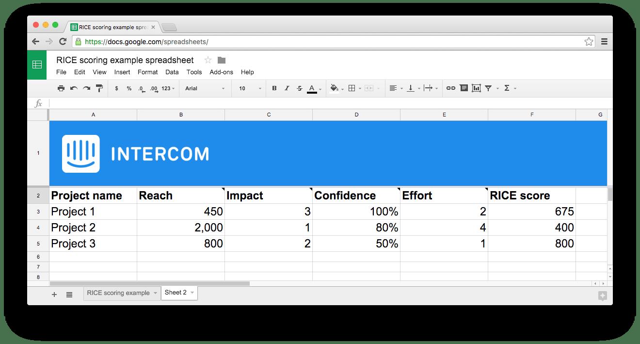 Sean McBride's (Intercom) RICE method of prioritizing