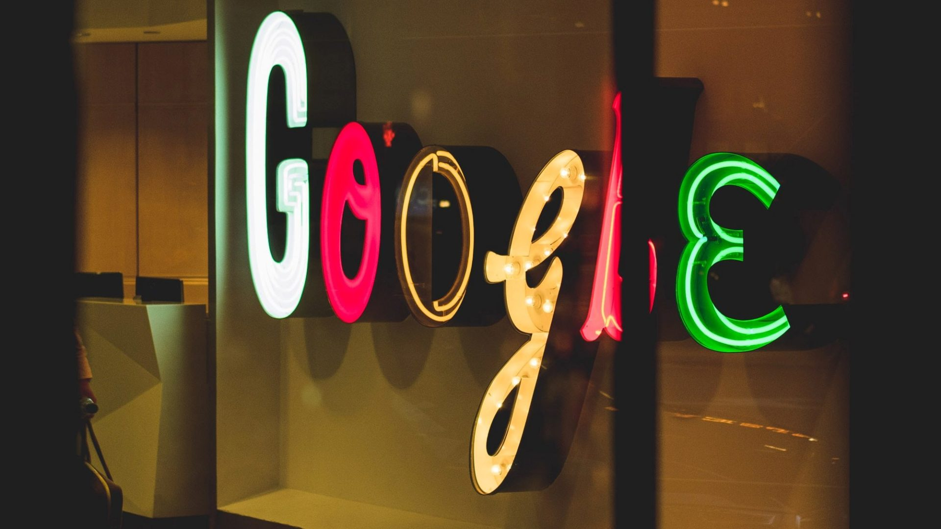 Illuminated Google sign in New York